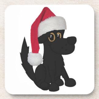 Perro negro del navidad posavasos de bebida