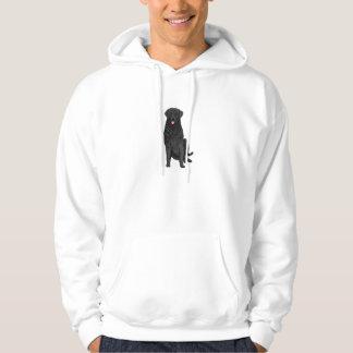 Perro negro del perro perdiguero en una sudadera