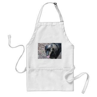 perro negro delantal