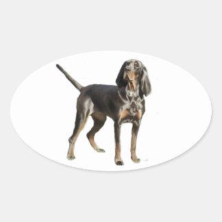Perro negro y del moreno americano del Coon Pegatina Ovalada