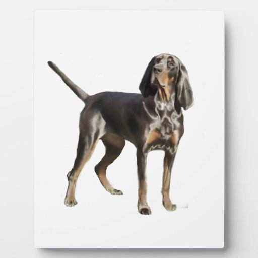 Perro negro y del moreno americano del Coon Placas De Madera