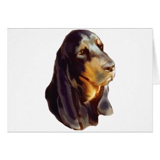 perro negro y del moreno del coon tarjeta de felicitación