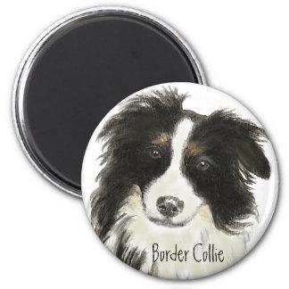 Perro o del border collie imán redondo 5 cm