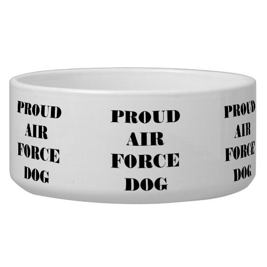 Perro orgulloso de la fuerza aérea del cuenco del  comedero para mascota