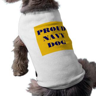 Perro orgulloso de la marina de guerra de la ropa  camiseta de mascota