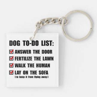 Perro para hacer la lista llavero cuadrado acrílico a doble cara