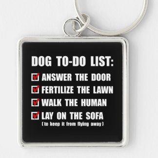 Perro para hacer la lista llavero cuadrado plateado