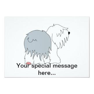 """Perro pastor Bobtail Invitación 5"""" X 7"""""""