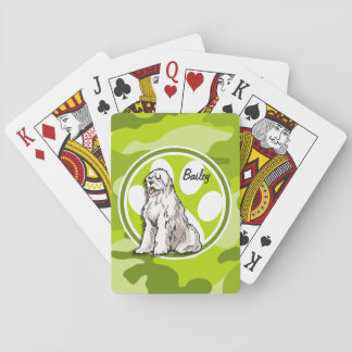 Perro pastor; camo verde claro, camuflaje cartas de juego