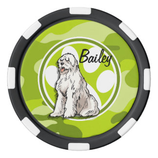 Perro pastor; camo verde claro, camuflaje fichas de póquer
