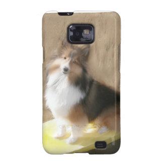 Perro pastor de CuteShetland que se sienta en un b Samsung Galaxy SII Carcasa