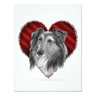 """Perro pastor de Shetland con el corazón Invitación 4.25"""" X 5.5"""""""