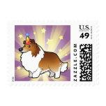 Perro pastor de Shetland del cumpleaños/collie Timbre Postal