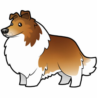 Perro pastor de Shetland del dibujo animado/collie Imán Fotoescultura