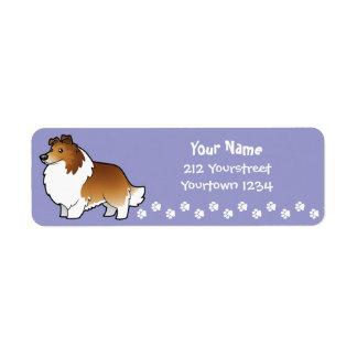 Perro pastor de Shetland del dibujo animado/collie Etiqueta De Remitente