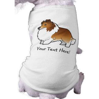 Perro pastor de Shetland del dibujo animado/collie Camisas De Mascota