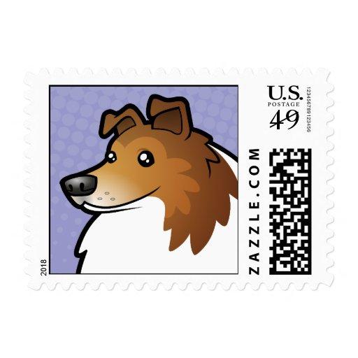Perro pastor de Shetland del dibujo animado/collie Sellos Postales