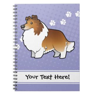 Perro pastor de Shetland del dibujo animado/collie Spiral Notebooks