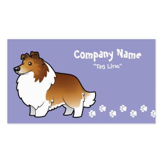 Perro pastor de Shetland del dibujo animado/collie Plantillas De Tarjetas De Visita