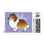Perro pastor de Shetland del dibujo animado/collie Timbres Postales