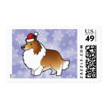 Perro pastor de Shetland del navidad/collie Sello Postal