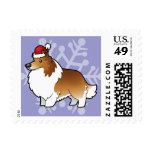 Perro pastor de Shetland del navidad/collie Timbres Postales