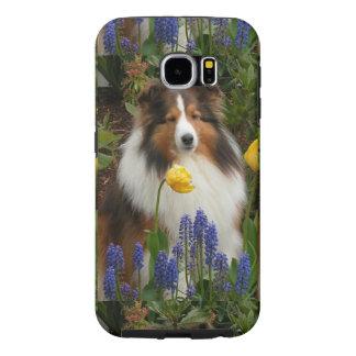 perro pastor de Shetland en flowers.png Funda Samsung Galaxy S6
