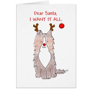 Perro pastor de Shetland estimado Santa Felicitaciones