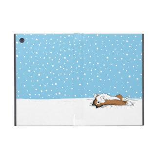 Perro pastor de Shetland feliz en la nieve iPad Mini Cobertura
