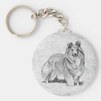 Perro pastor de Shetland Llavero Redondo Tipo Pin