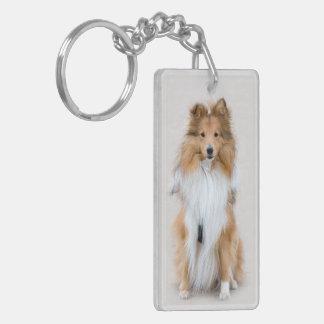 Perro pastor de Shetland, retrato lindo de la foto Llavero Rectangular Acrílico A Doble Cara