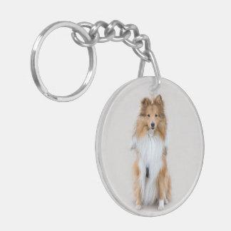 Perro pastor de Shetland, retrato lindo de la foto Llavero Redondo Acrílico A Doble Cara