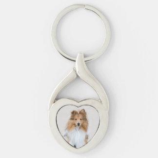 Perro pastor de Shetland, retrato lindo de la foto Llavero Plateado En Forma De Corazón