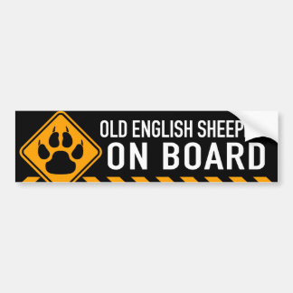 Perro pastor inglés viejo a bordo pegatina para auto