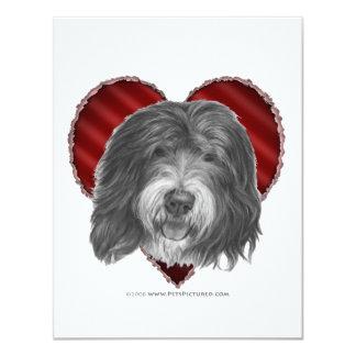 """Perro pastor inglés viejo con el corazón invitación 4.25"""" x 5.5"""""""