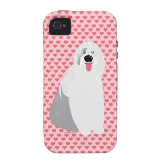 Perro pastor inglés viejo del amor de Sheepie en c iPhone 4/4S Fundas