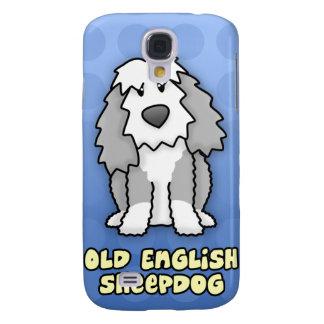 Perro pastor inglés viejo del dibujo animado azul funda para samsung galaxy s4