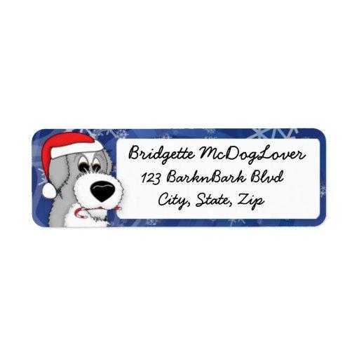 Perro pastor inglés viejo del navidad etiqueta de remite