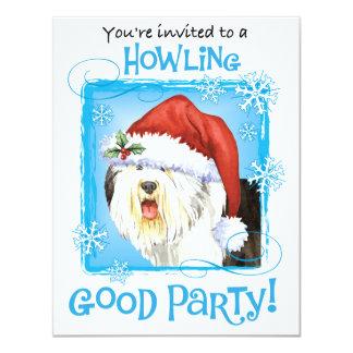 """Perro pastor inglés viejo feliz de Howliday Invitación 4.25"""" X 5.5"""""""