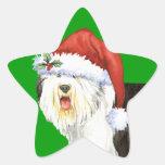 Perro pastor inglés viejo feliz de Howliday Colcomanias Forma De Estrella Personalizadas