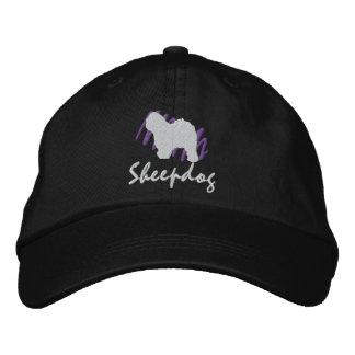 Perro pastor inglés viejo garabateado gorra bordada