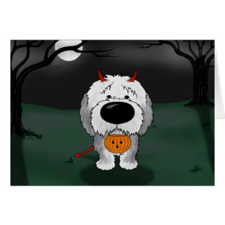 Perro pastor inglés viejo Halloween Tarjeton