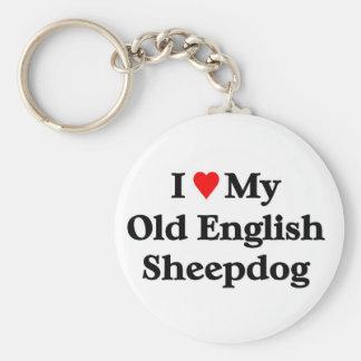 Perro pastor inglés viejo llavero redondo tipo pin