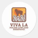 Perro pastor polaco de la tierra baja pegatinas redondas