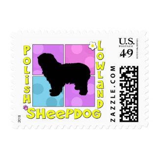 Perro pastor polaco maravilloso de la tierra baja sello postal
