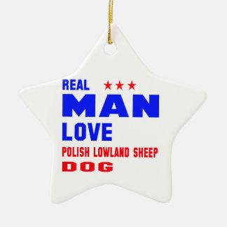 Perro pastor real de la tierra baja del polaco del adorno navideño de cerámica en forma de estrella