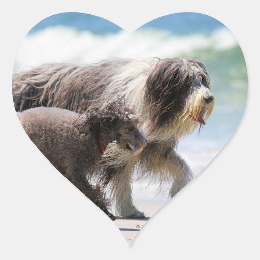 Perro pastor y caniche - yo y mi PAL Calcomanía De Corazón Personalizadas