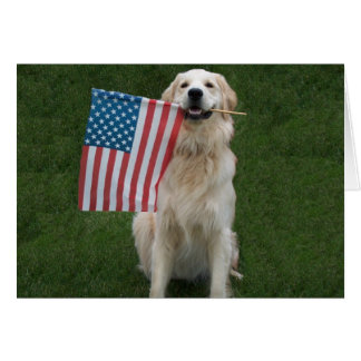 Perro patriótico adaptable tarjeta pequeña
