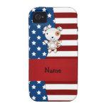 Perro patriótico conocido personalizado iPhone 4 fundas