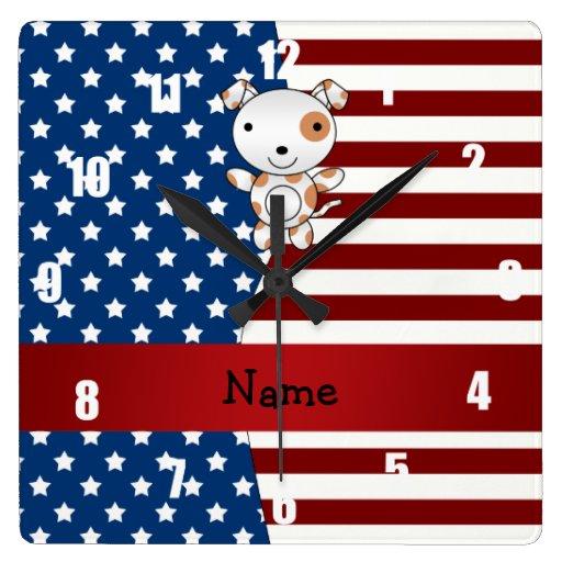 Perro patriótico conocido personalizado relojes